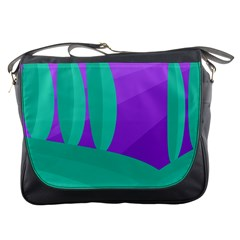 Purple And Green Landscape Messenger Bags by Valentinaart