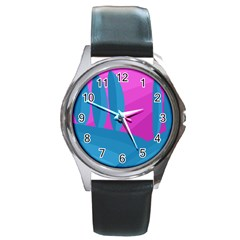 Pink And Blue Landscape Round Metal Watch by Valentinaart