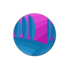 Pink And Blue Landscape Rubber Coaster (round)  by Valentinaart