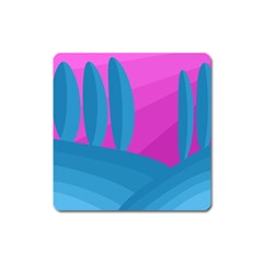 Pink And Blue Landscape Square Magnet by Valentinaart