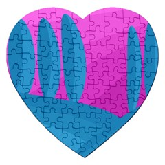 Pink And Blue Landscape Jigsaw Puzzle (heart) by Valentinaart