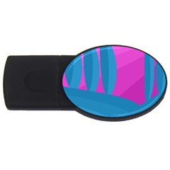Pink And Blue Landscape Usb Flash Drive Oval (4 Gb)  by Valentinaart