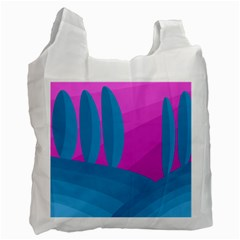 Pink And Blue Landscape Recycle Bag (one Side) by Valentinaart