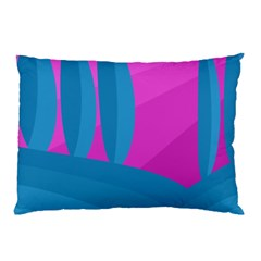 Pink And Blue Landscape Pillow Case (two Sides) by Valentinaart