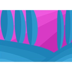 Pink And Blue Landscape Birthday Cake 3d Greeting Card (7x5)