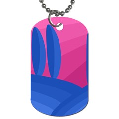Magenta And Blue Landscape Dog Tag (two Sides) by Valentinaart