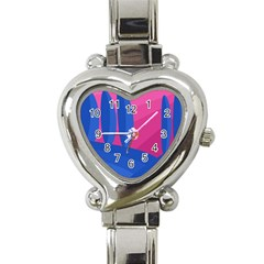 Magenta And Blue Landscape Heart Italian Charm Watch by Valentinaart