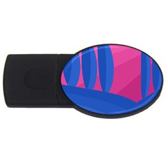 Magenta And Blue Landscape Usb Flash Drive Oval (4 Gb)  by Valentinaart