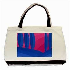 Magenta And Blue Landscape Basic Tote Bag by Valentinaart