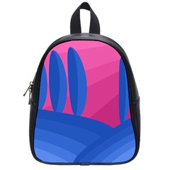 Magenta And Blue Landscape School Bags (small)  by Valentinaart