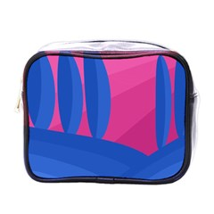Magenta And Blue Landscape Mini Toiletries Bags by Valentinaart