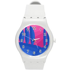 Magenta And Blue Landscape Round Plastic Sport Watch (m) by Valentinaart