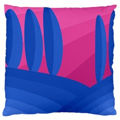 Magenta And Blue Landscape Large Cushion Case (one Side) by Valentinaart