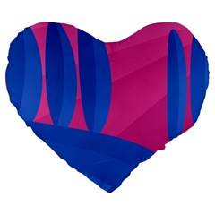 Magenta And Blue Landscape Large 19  Premium Heart Shape Cushions by Valentinaart