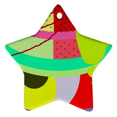 Colorful Abstraction By Moma Ornament (star)  by Valentinaart