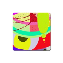 Colorful Abstraction By Moma Square Magnet by Valentinaart
