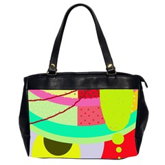 Colorful Abstraction By Moma Office Handbags (2 Sides)  by Valentinaart