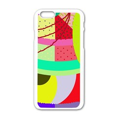 Colorful Abstraction By Moma Apple Iphone 6/6s White Enamel Case by Valentinaart