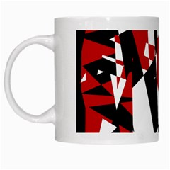 Red, Black And White Chaos White Mugs by Valentinaart