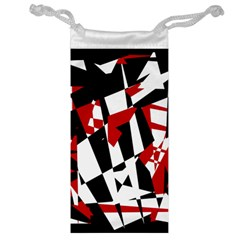 Red, Black And White Chaos Jewelry Bags by Valentinaart