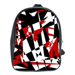 Red, Black And White Chaos School Bags(large)  by Valentinaart