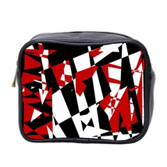 Red, Black And White Chaos Mini Toiletries Bag 2 Side by Valentinaart