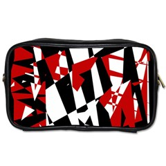 Red, Black And White Chaos Toiletries Bags by Valentinaart