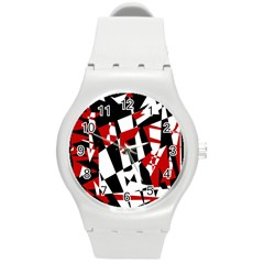 Red, Black And White Chaos Round Plastic Sport Watch (m) by Valentinaart