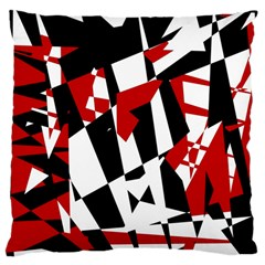 Red, Black And White Chaos Large Cushion Case (two Sides) by Valentinaart