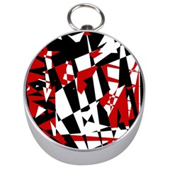 Red, Black And White Chaos Silver Compasses by Valentinaart
