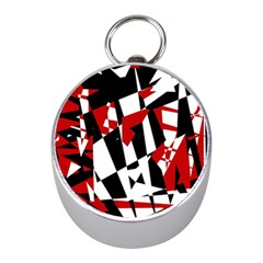 Red, Black And White Chaos Mini Silver Compasses by Valentinaart