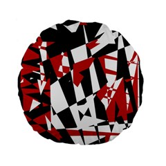 Red, Black And White Chaos Standard 15  Premium Flano Round Cushions by Valentinaart