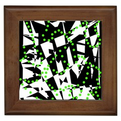 Black, White And Green Chaos Framed Tiles by Valentinaart