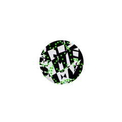 Black, White And Green Chaos 1  Mini Buttons by Valentinaart