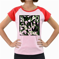 Black, White And Green Chaos Women s Cap Sleeve T Shirt by Valentinaart