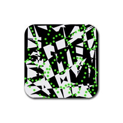 Black, White And Green Chaos Rubber Square Coaster (4 Pack)  by Valentinaart