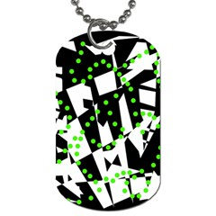 Black, White And Green Chaos Dog Tag (one Side) by Valentinaart