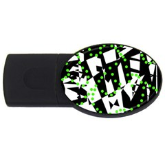 Black, White And Green Chaos Usb Flash Drive Oval (4 Gb)  by Valentinaart
