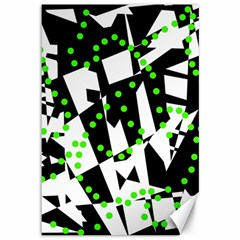 Black, White And Green Chaos Canvas 12  X 18   by Valentinaart