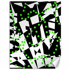 Black, White And Green Chaos Canvas 36  X 48   by Valentinaart