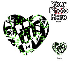 Black, White And Green Chaos Playing Cards 54 (heart)  by Valentinaart