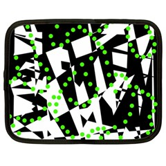 Black, White And Green Chaos Netbook Case (large) by Valentinaart