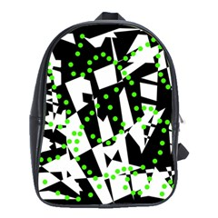 Black, White And Green Chaos School Bags(large)  by Valentinaart