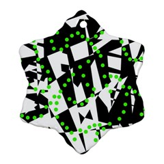 Black, White And Green Chaos Ornament (snowflake)  by Valentinaart