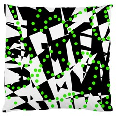 Black, White And Green Chaos Large Cushion Case (one Side) by Valentinaart