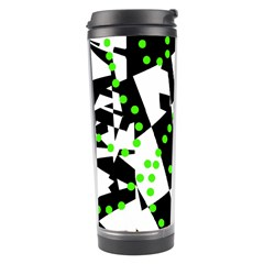 Black, White And Green Chaos Travel Tumbler by Valentinaart