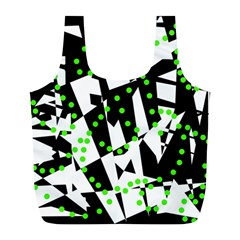 Black, White And Green Chaos Full Print Recycle Bags (l)  by Valentinaart