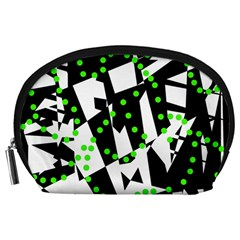 Black, White And Green Chaos Accessory Pouches (large)  by Valentinaart
