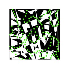 Black, White And Green Chaos Small Satin Scarf (square) by Valentinaart