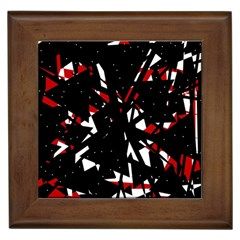 Black, Red And White Chaos Framed Tiles by Valentinaart